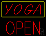 Red Yoga Yellow Border Block Open Neon Sign