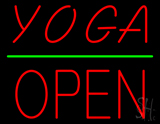 Yoga Block Open Green Line Neon Sign