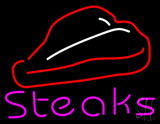 Steak Logo Pink Neon Sign
