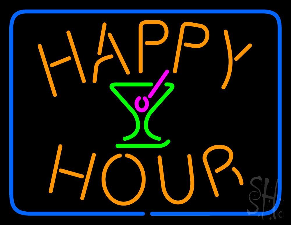 Happy Hour with Martini Glass Neon Sign   Happy Hour Neon Signs - Every Thing Neon