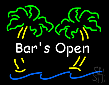 Bar Open with Two Palm Tree Neon Sign