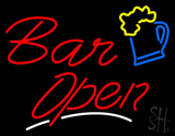 Bar Open with white underline Beer Mug Neon Sign