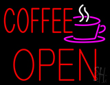 Red Coffee Open Block Logo Neon Sign