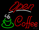 Red Open Coffee with Glass Neon Sign
