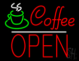 Red Coffee Block Open Neon Sign
