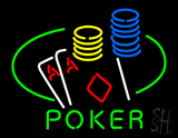 Poker Double Aces Table and Chips Neon Sign
