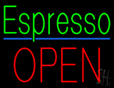 Green Espresso Block Red Open LED Neon Sign