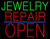 Jewelry Repair Block Open Blue Line Neon Sign