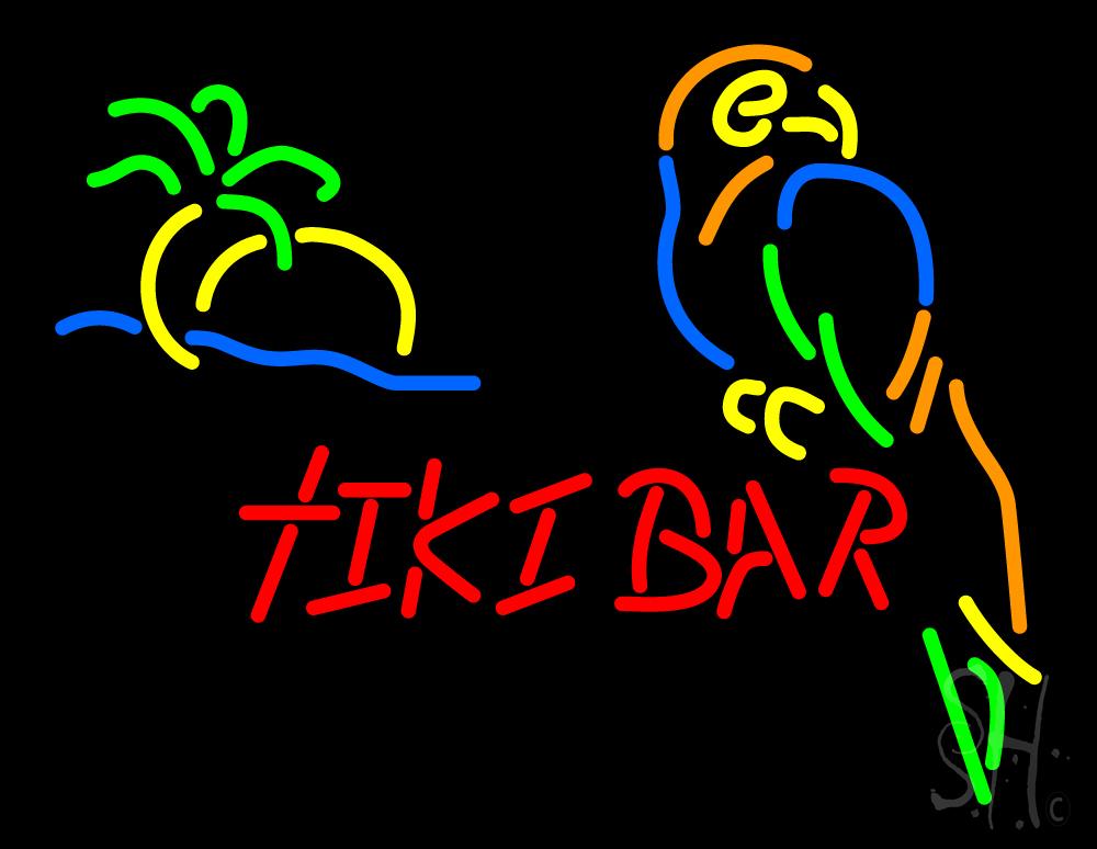 tiki bar with parrot neon sign