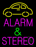 Pink Alarm and Stereo with Car Logo Neon Sign