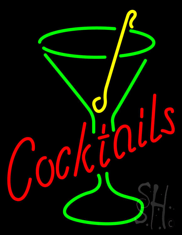 Rectangle Cocktail with Cocktail Glass Neon Sign
