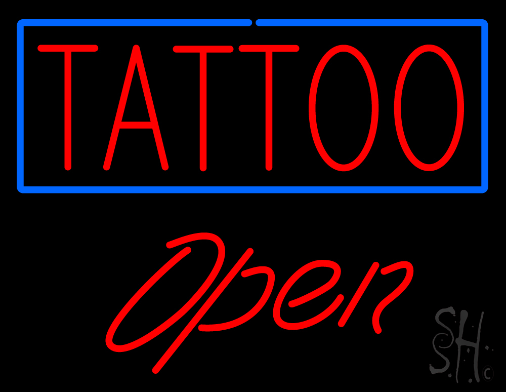 Red tattoo blue border open neon sign tattoo open neon for Neon tattoo signs