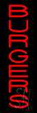 Vertical Red Burgers Neon Sign