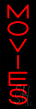 Vertical Red Movies Neon Sign