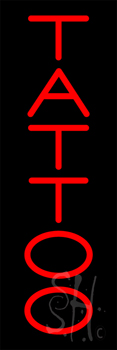 Vertical Red Tattoo Neon Sign