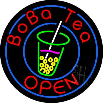 Circle Boba Tea Neon Sign