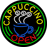 Round Cappuccino Open LED Neon Sign