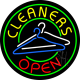 Round Cleaners Open with Logo Neon Sign