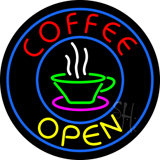 Round Red Coffee Open Yellow LED Neon Sign
