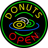 Red Donuts Open Neon Sign