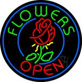Round Flowers Open Neon Sign