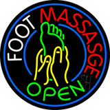 Round Foot Massage Open with Logo Neon Sign