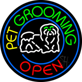 Pet Grooming Open Block Logo Neon Sign