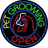 Pet Grooming Open Block Neon Sign