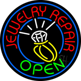 Jewelry Repair Open Green Logo Neon Sign