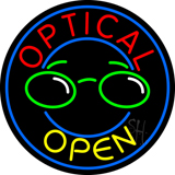 Round Optical Yellow Open Neon Sign