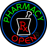 Round Pharmacy Open Logo Neon Sign