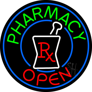Round Pharmacy Open Logo Neon Sign