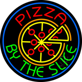 Round Pizza by the Slice Neon Sign