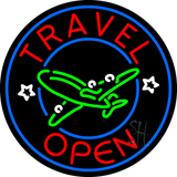 Red Travel Open Blue Circle LED Neon Sign