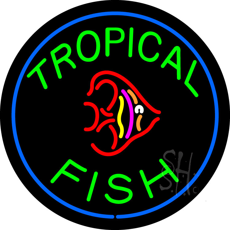 Green tropical fish block logo neon sign trophical fish for Fish neon sign