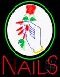 Red Nails with Logo Neon Sign