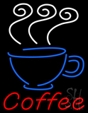 Red Coffee with Glass and Steam Neon Sign