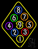 9 Ball Rack Pool Neon Sign