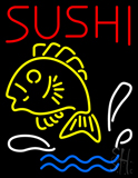 Red Sushi with Fish Logo Below Neon Sign