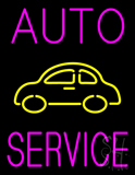 Pink Auto Service Yellow Logo Neon Sign