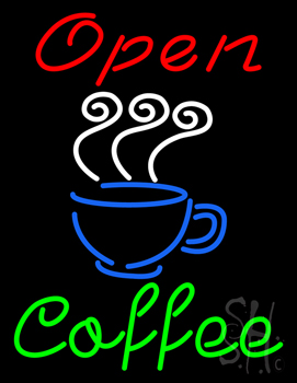 Red Open Coffee Green Neon Sign