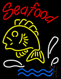 Red Seafood Logo Yellow Neon Sign