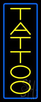 Vertical Yellow Tattoo Blue Border Neon Sign