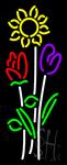 Vertical Flowers Logo Neon Sign