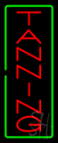 Vertical Red Tanning Green Border Neon Sign
