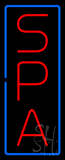 Vertical Red Spa Blue Border Neon Sign