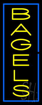 Vertical Yellow Bagels with Blue Border Neon Sign