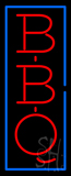 Vertical Red BBQ with Blue Border Neon Sign
