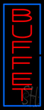 Vertical Red Buffet with Blue Border Neon Sign