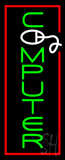 Vertical Green Computer with Red Border Neon Sign